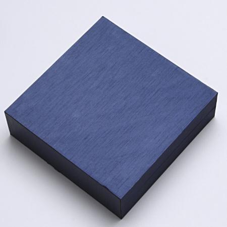 Krabička na set náušnice, prsten, řetízek, šperky, imitace dřeva modrá