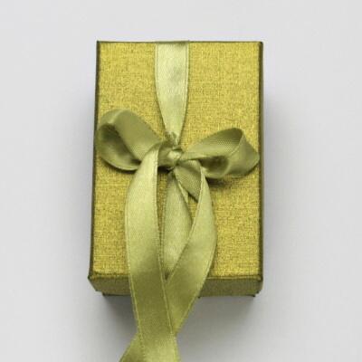 Papírová krabička na šperky, krabička s mašlí na sadu, ZLATÁ
