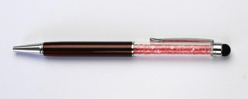 Elegantní propiska s krystaly tmavá pink, sklíčka v propisce, vínová propiska