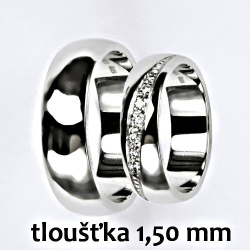 Snubní prsteny na zakázku žluté i bílé zlato, půlkulatý profil 1.5 mm