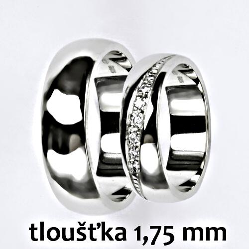 Snubní prsteny na zakázku žluté i bílé zlato, půlkulatý profil 1.75 mm