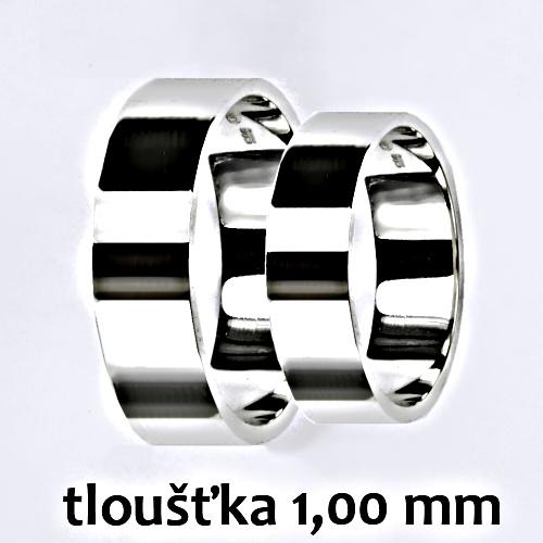 Snubní prsteny na zakázku žluté i bílé zlato, rovný profil 1 mm