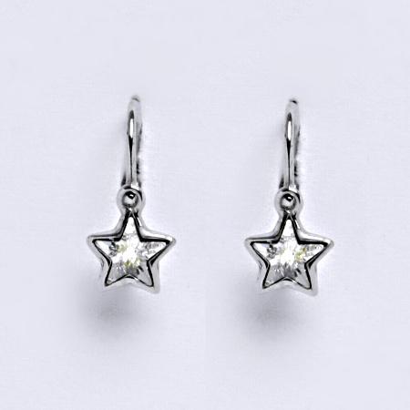 NK 1326 Dětské náušnice, bílé zlato se Swarovski krystalem hvězdy čiré
