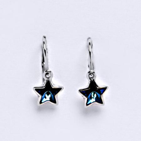 NK 1326 Dětské náušnice, bílé zlato se Swarovski krystalem hvězdy bermuda blue