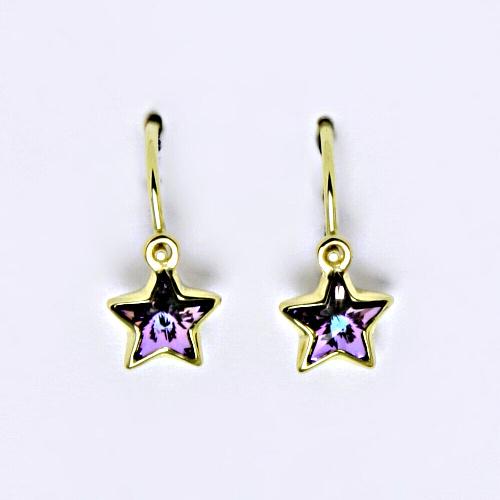 Dětské náušnice, žluté zlato, hvězdičky se Swarovski krystalem Vitrail light NK 1326