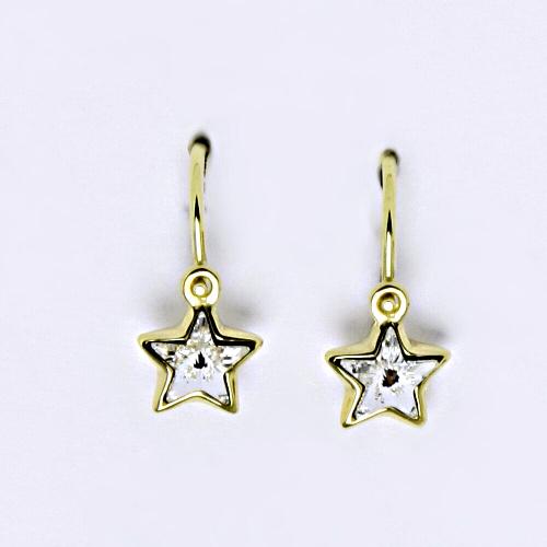 Dětské náušnice, žluté zlato, hvězdičky se Swarovski krystalem bílá NK 1326