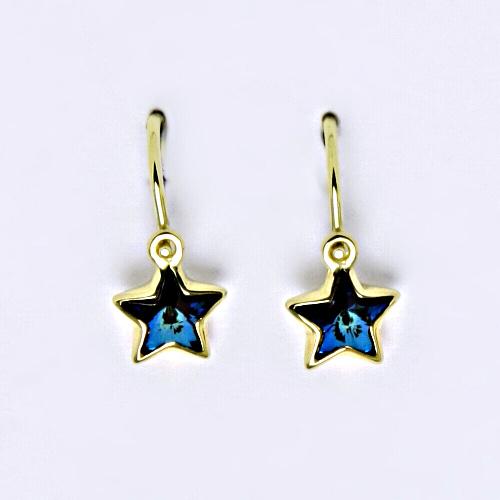 Dětské náušnice, žluté zlato, hvězdičky se Swarovski krystalem modrá bermuda blue NK 1326