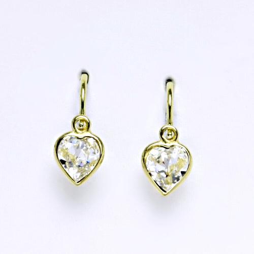 Dětské náušnice, žluté zlato, srdce se Swarovski krystalem čirým NK 1315