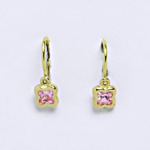 Dětské náušnice ze žlutého zlata 585/1000 VE 176 pink