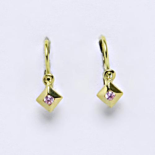 Dětské náušnice ze žlutého zlata 585/1000 VE 39 pink