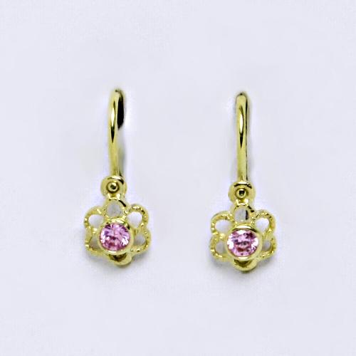 Dětské náušnice ze žlutého zlata 585/1000 VE 197 pink