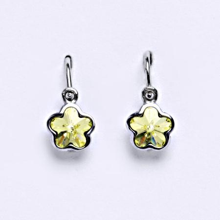 1 NK 1297 Dětské náušnice bílé zlato, krystal Swarovski barva Jonquil