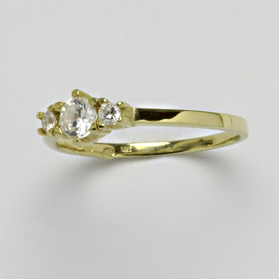 Prsten žluté zlato 2,56 g 14 karátů vel.61