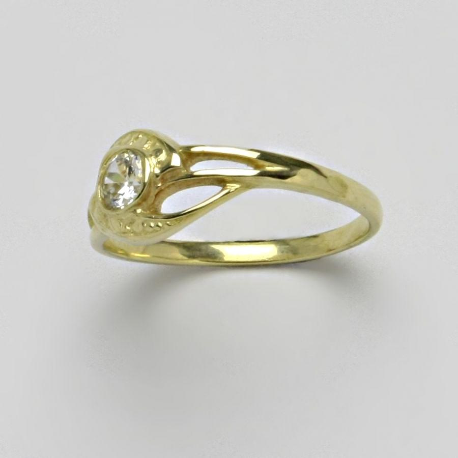 Prsten se zirkonem, žluté zlato 14 karátů, T 1041