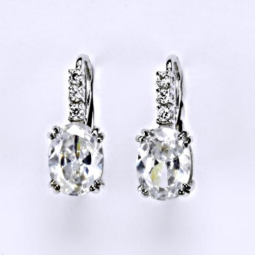 Náušnice bíle zlato zirkony, šperky zlaté VE 8