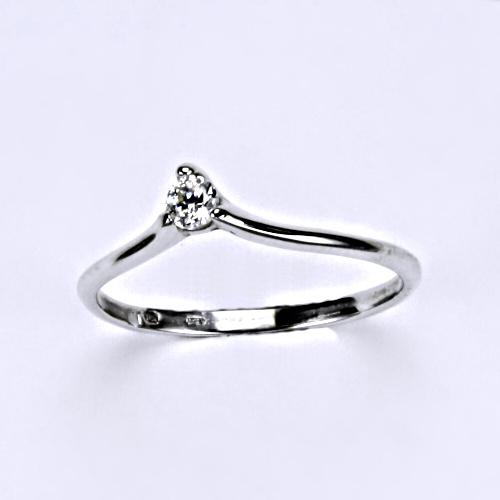 Prsten, prsteny, bílé zlato, zirkon, šperky zlaté, VR 201