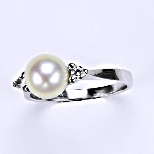 Prsten, prsteny, bílé zlato, zirkon, perla přírodní, šperky zlaté VR 141