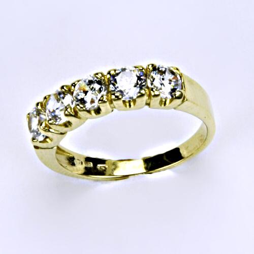 Prsten prsteny žluté zlato zirkon šperky zlaté VR 105