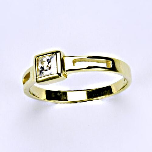 Prsten žluté zlato, zirkon, šperky zlaté VR 246
