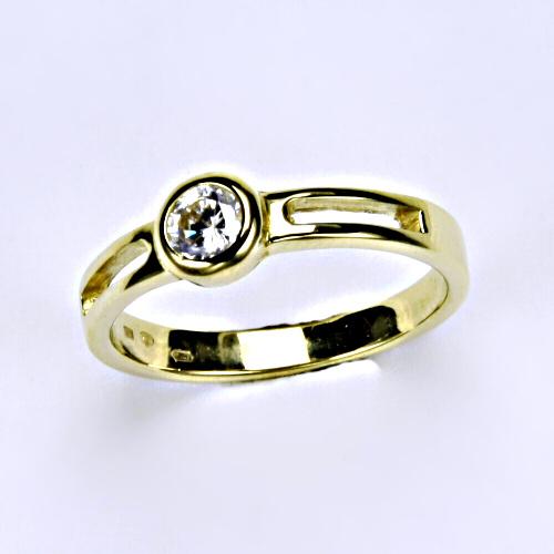 Prsten prsteny šperky žluté zlato zirkon šperky zlaté VR 245