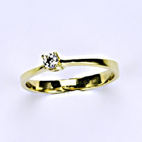 Prsten žluté zlato, zirkon, šperky zlaté VR 327