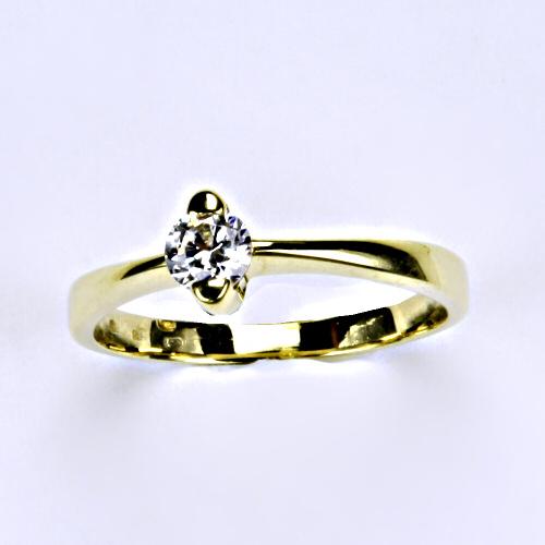 Prsteny šperky, prsten žluté zlato se zirkonem VR 113