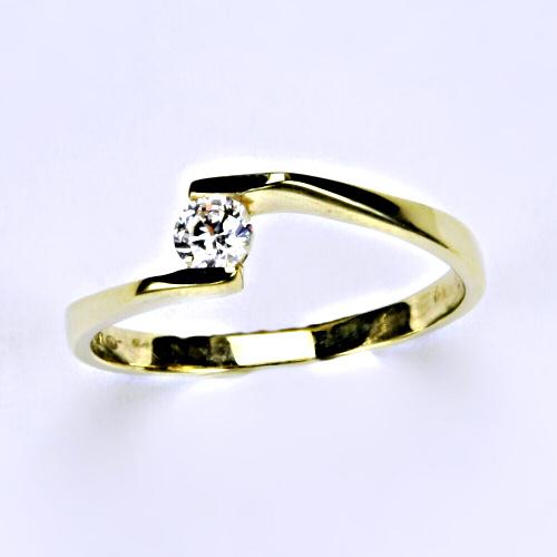 Prsten prsteny šperky žluté zlato zirkon šperky zlaté VR 214