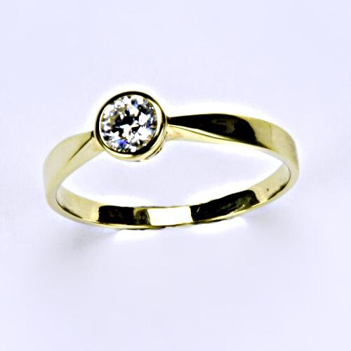 Prsten ze žlutého zlata se zirkonem, šperk VR 87