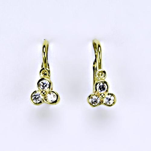 Dětské náušnice žluté zlato, zirkon, šperky zlaté 2