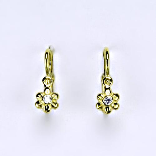 Dětské náušnice žluté zlato, zirkon, šperky zlaté NK 1349