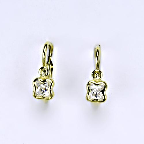 Dětské náušnice žluté zlato, zirkon, šperky zlaté VE 176 BZ