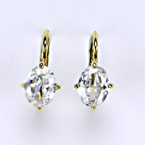 Náušnice žluté zlato zirkony, šperky zlaté VE 169