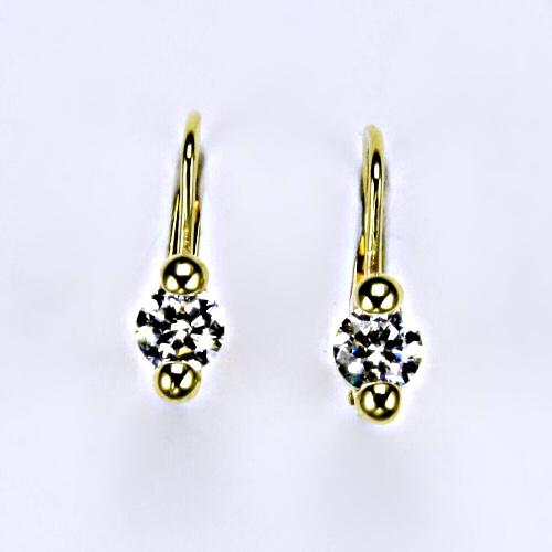 Náušnice žluté zlato zirkony, šperky zlaté VE 4
