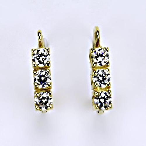 Náušnice žluté zlato zirkony, šperky zlaté VE 28