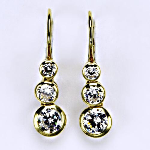 Náušnice žluté zlato zirkony, šperky zlaté VE 26