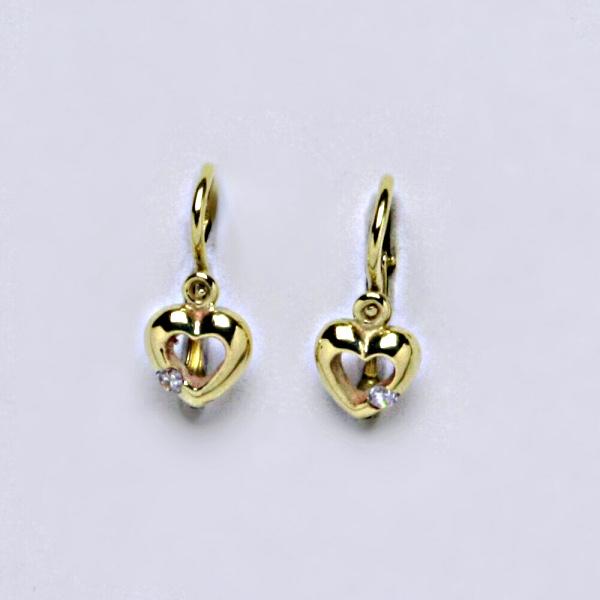 Dětské náušnice žluté zlato, zirkon, šperky zlaté NK 1479 BZ
