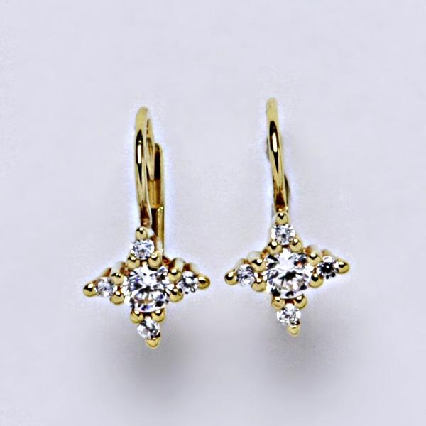 Náušnice žluté zlato zirkony, šperky zlaté, VE 38