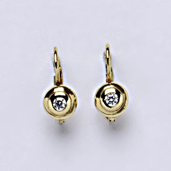 Náušnice žluté zlato zirkony, šperky zlaté,VE 133