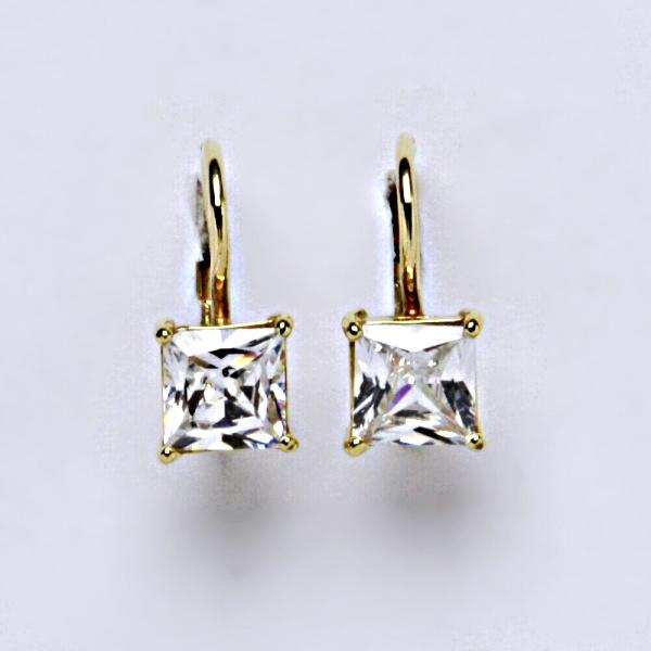 Náušnice žluté zlato zirkony, šperky zlaté VE 130