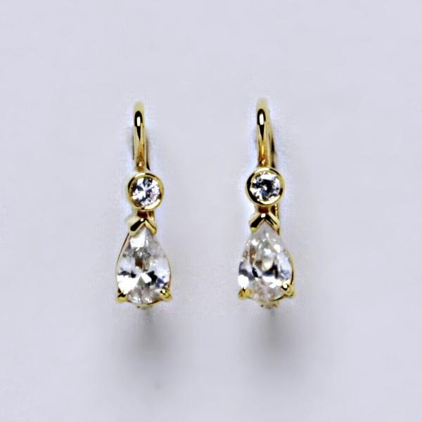 Náušnice žluté zlato zirkony, šperky zlaté VE 144