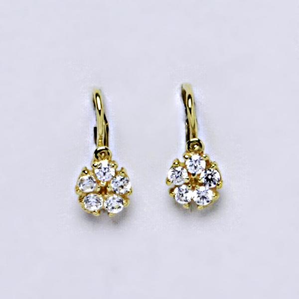 Dětské náušnice žluté zlato, zirkon, šperky zlaté VE 202 BZ
