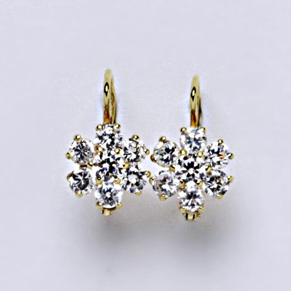 Náušnice žluté zlato zirkony, šperky zlaté VE 24