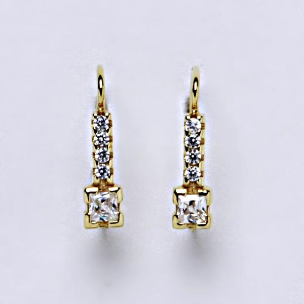 Náušnice žluté zlato zirkony, šperky zlaté VE 59