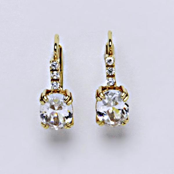 Náušnice žluté zlato zirkony, šperky zlaté, VE 8