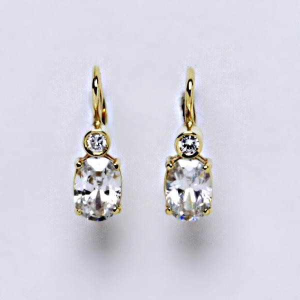 Náušnice žluté zlato, zirkony, šperky zlaté VE 146