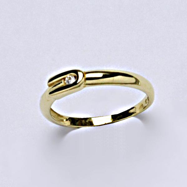 Prsten žluté zlato se zirkonem, šperky zlaté, VR 283