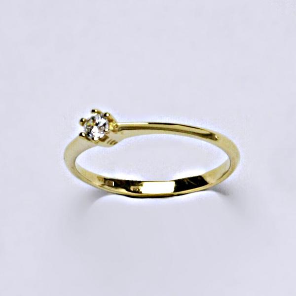 Prsten, prsteny žluté zlato, zirkon, šperky zlaté VR 326
