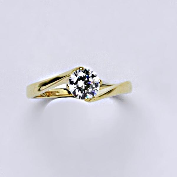 Prsten prsteny žluté zlato zirkon VR 282