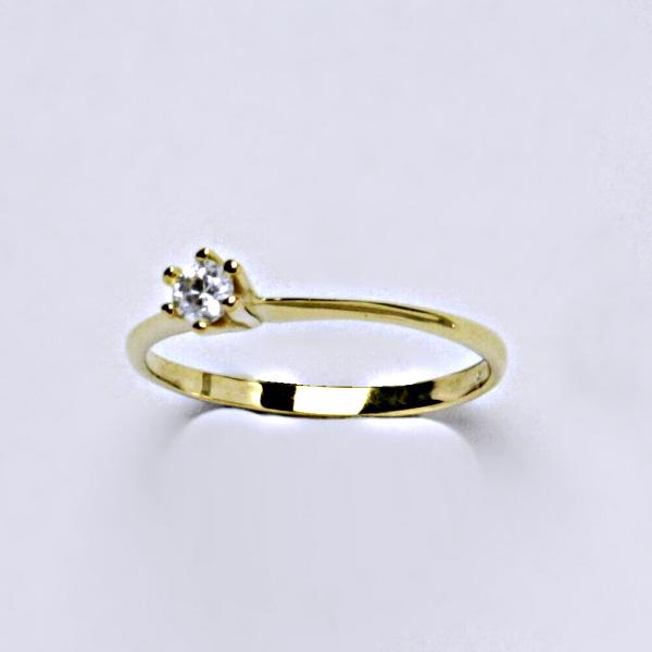Prsten žluté zlato se zirkonem, šperky zlaté VR 324