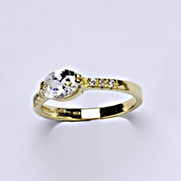Prsten prsteny žluté zlato zirkon, VR 237